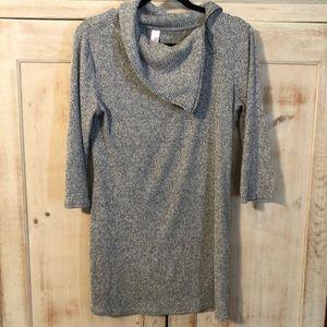 No Boundaries Zip Cowl Neck Tunic/Mini Dress